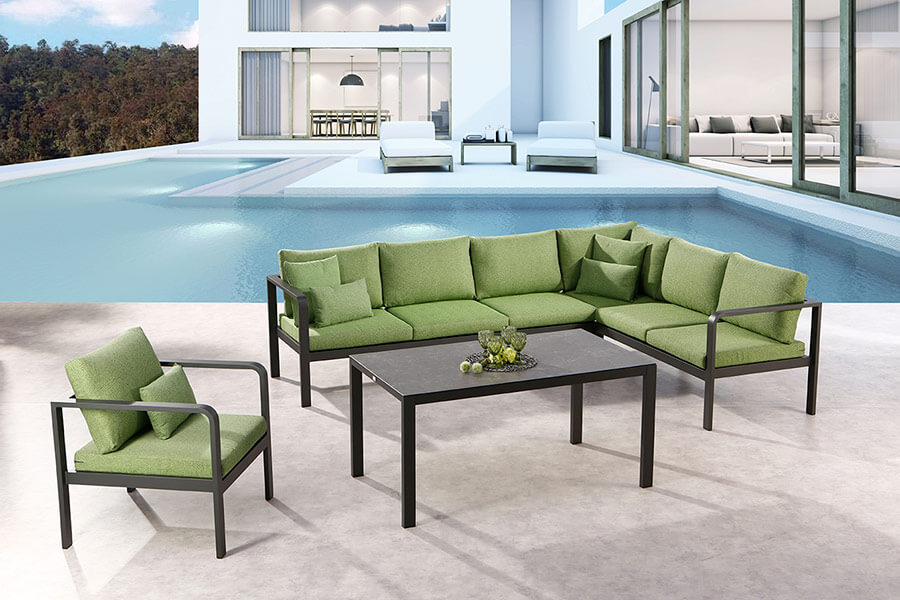 BEST Loungemöbel Cleveland mit grüner Polsterung