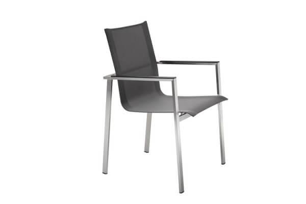 Stuhl schwarz mit eckiger Lehne