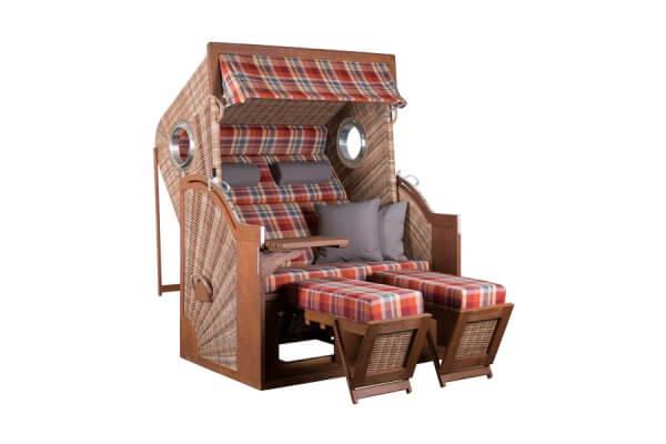 Strandkorb aus Holz und Geflecht mit Fußteil und ausklappbarem Tisch, rot karierter Polsterbezug