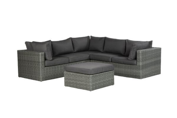 Lounge dunkelgrau mit Hocker