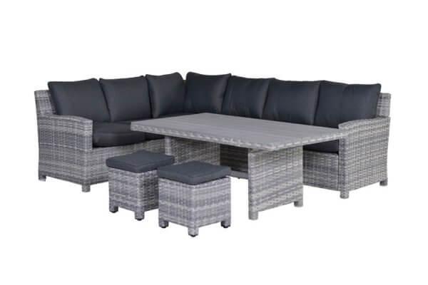 Lounge in grau mit Esstisch