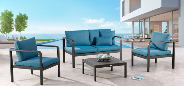 BEST Gartenmöbel bei ZEOTTEXX mit blauer Polsterung