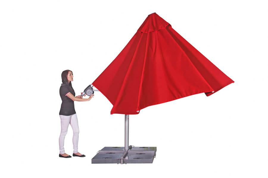 Sonnenschirm mit Ständer und Automatik