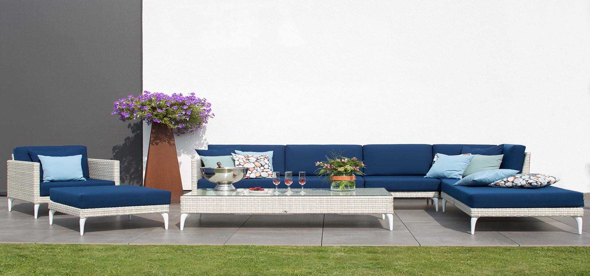 Lounge deVries dunkelblau aus Geflecht