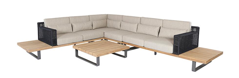 Lounge Set in beige mit schwarzer Lehne und Holztisch