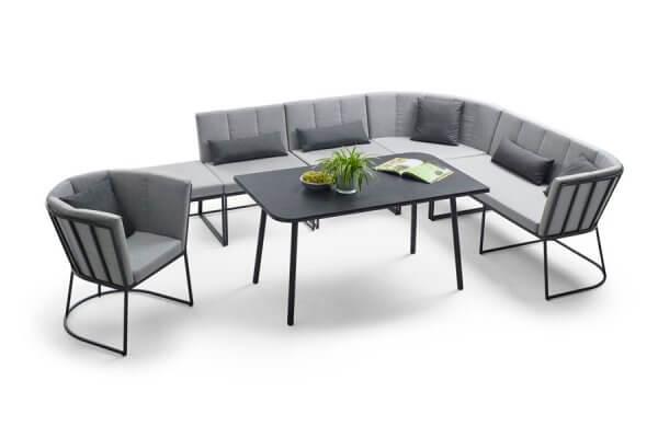 Eck-lounge mit Beistellteil und Tisch