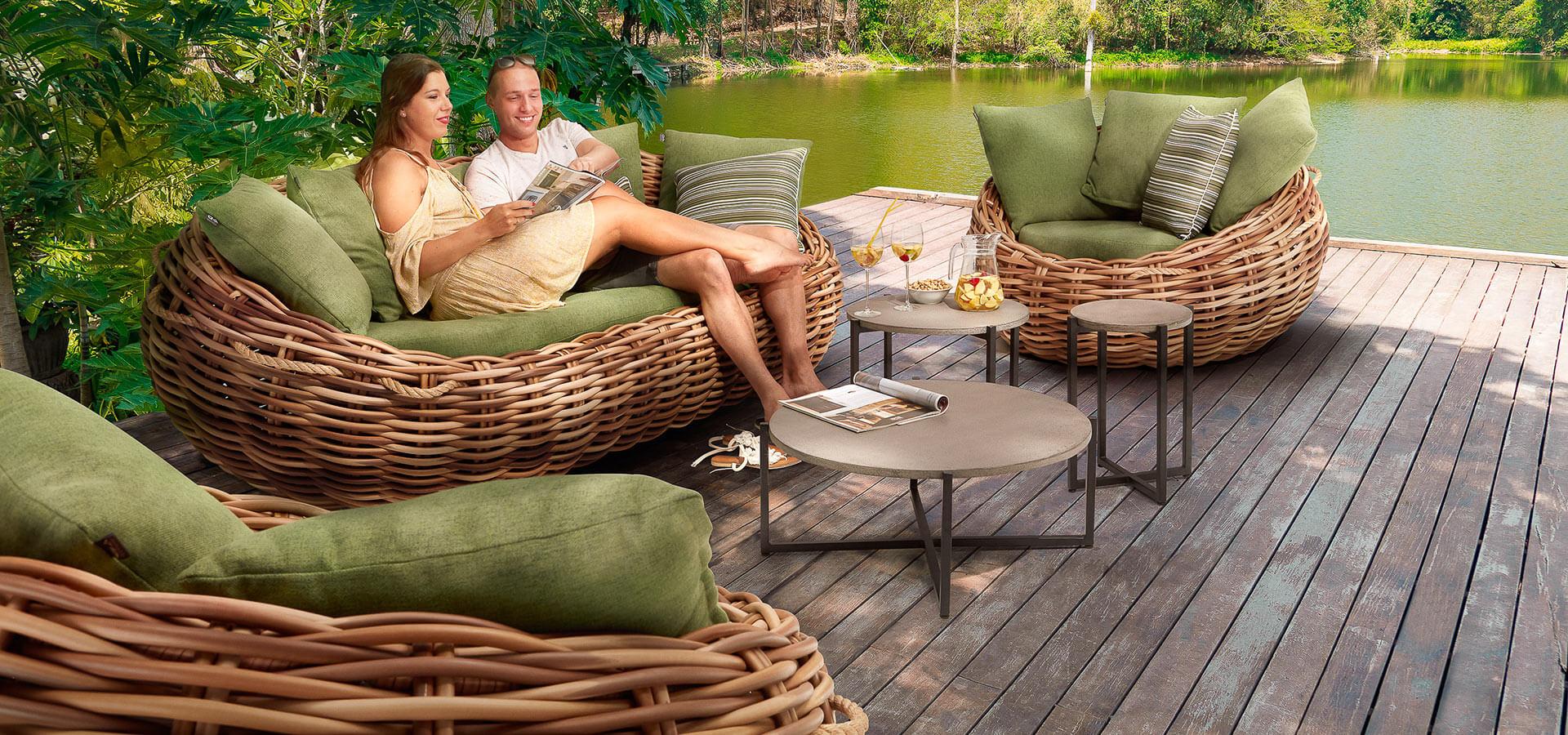 Geflecht Garten Loungemöbel kaufen bei ZEOTTEXX GmbH › ZEOTTEXX ...