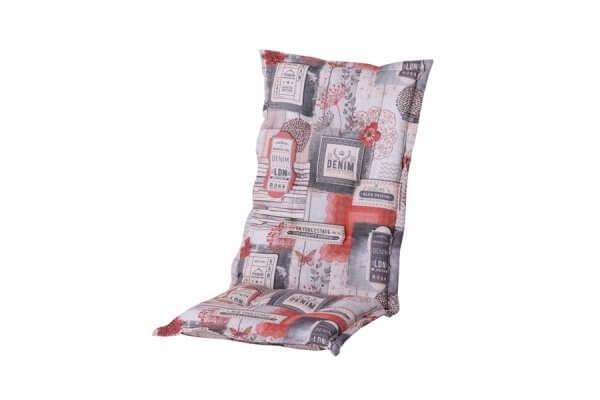 Polsterauflage mit rot, grau, weißem Muster