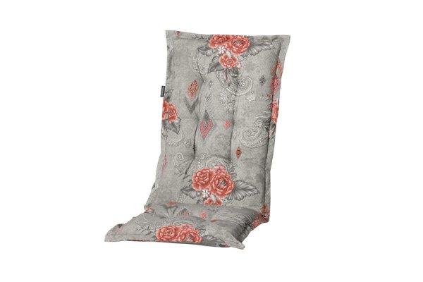 Gartenstühle Polsterauflagen grau mit rotem Blumenmuster