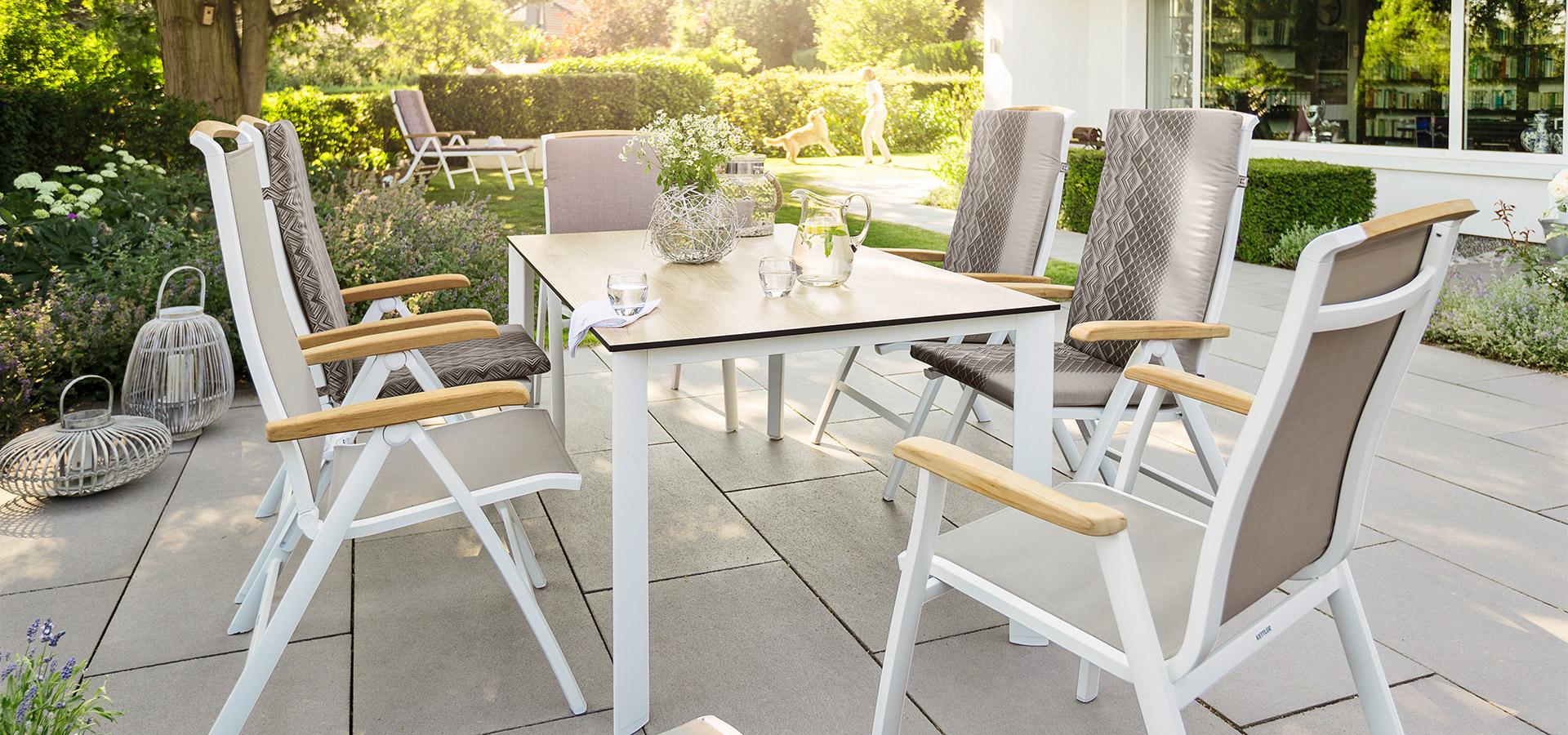 Aluminium Textilene Gartenstühle Garnitur