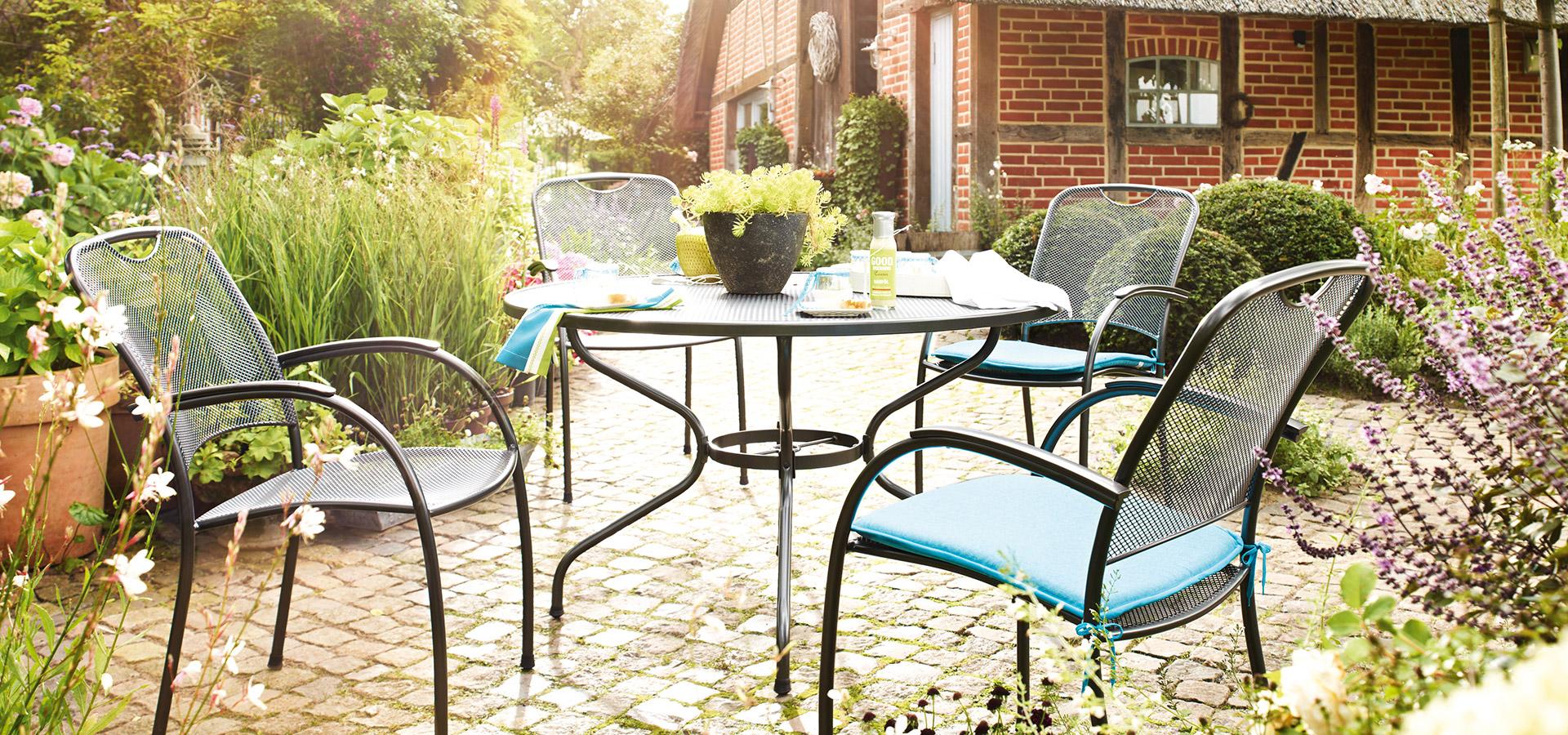 Garten Stahlgitter-Sessel Garnitur